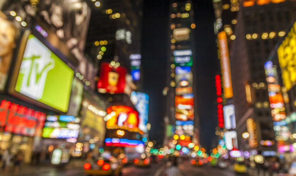 Abstract view of the lights of Times Square in New York city at night