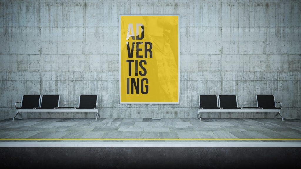 billboard poster advertising on underground station